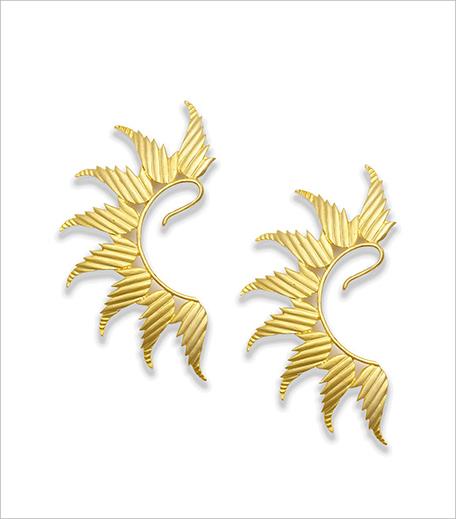 Ra Abta Gold plated textured leaf earcuff_Hauterfly