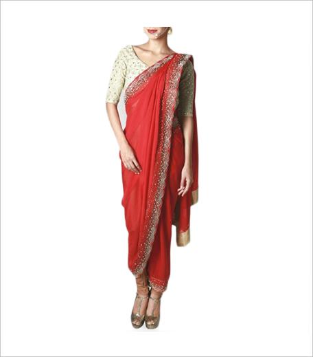 Reneé Pearl White Silk Blouse with Draped Chiffon Crimson Sari_Hauterfly