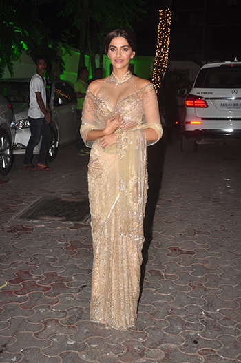 Sonam Kapoor at the Shilpa Shetty Diwali bash.