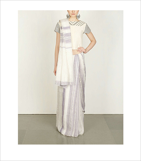 Anavila Ivory & Blue Stripe Saree_Hauterfly