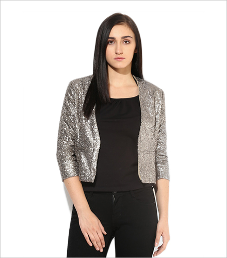 Ginger By Lifestyle Jabong Grey Embellished Jacket_Hauterfly