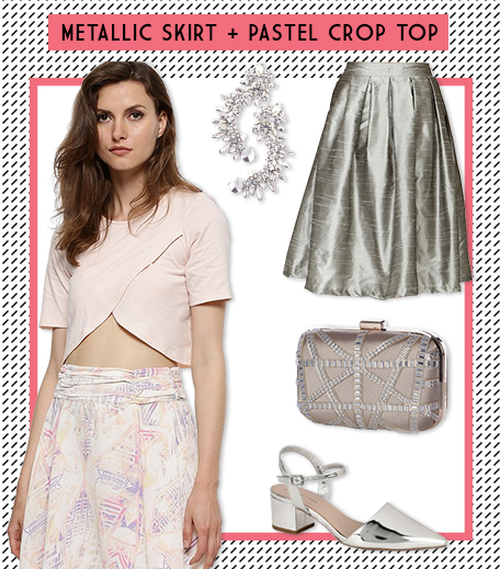 Look 2 Metallic skirt + Pastel Crop top_Hauterfly
