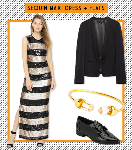 Look1 Sequins Maxi Dress + Flats_Hauterfly
