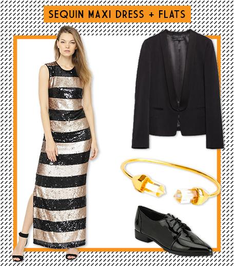 Look1 Sequins Maxi Dress + Flats_Hauterfly