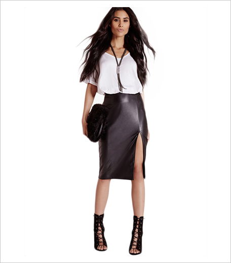 Misguided Black Faux Leather Side Split Midi Skirt Jabong_Hauterfly