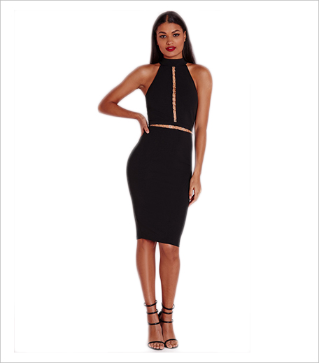 Misguided sleeveless gold hoop trim midi dress black 1_Hauterfly