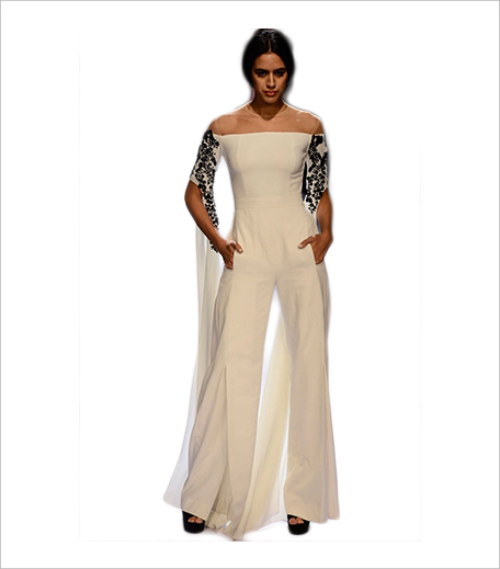 PPUS Ridhi Mehra White off shoulder embroidered jumpsuit_Hauterfly