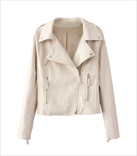 SR Store Beige Lapel Epaulet Zipper Crop Jacket_Hauterfly