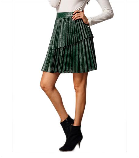 SR Store Green Pleated PU Skirt_Hauterfly