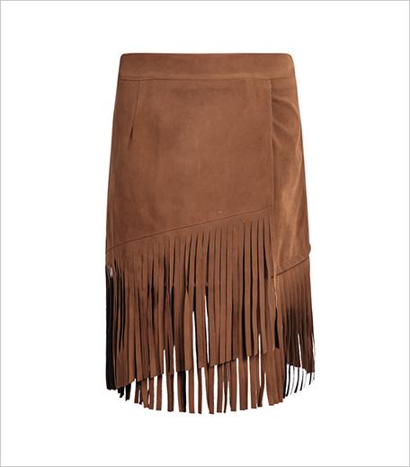 Zooomberg Khaki Tassel Velvet Skirt_Hauterfly