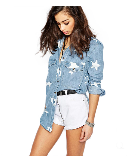 ASOS Glamorous Petite Star Print Denim Shirt_Hauterfly