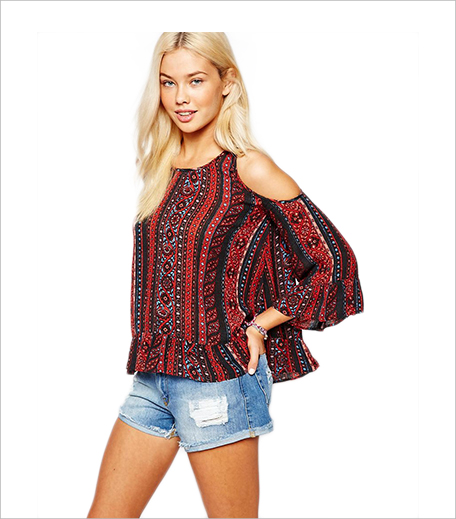 ASOS Hollister Cold Shoulder Boho Top With Print_Hauterfly