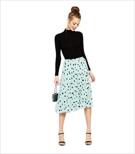 ASOS Pleated Midi Skirt in polka dots_Hauterfly