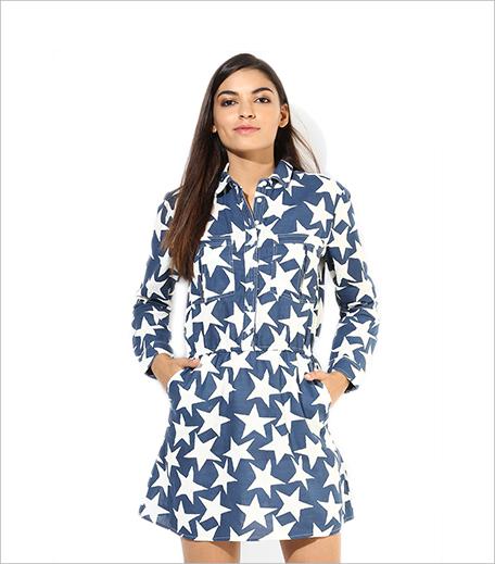 Alia Bhatt For Jabong Linen Star Print Shirt Dress_Hauterfly