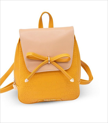 Femnmas Yellow Bow Leather Bag_Hauterfly