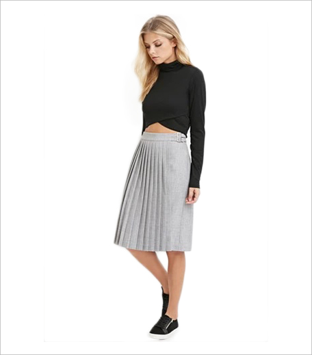 Forever 21 Texture Pleated Skirt_Hauterfly
