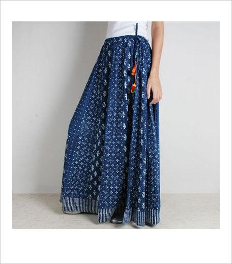 Indigo Cotton Hand Block Print Skirt With Tassles_Hauterfly