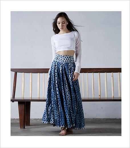 Khara Khapas Indigo Flared Skirt 1_Hauterfly