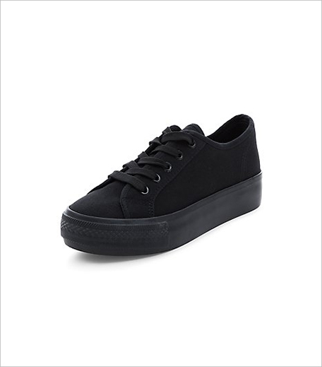 New look Black Lace Up Flatform Plimsolls_Hauterfly