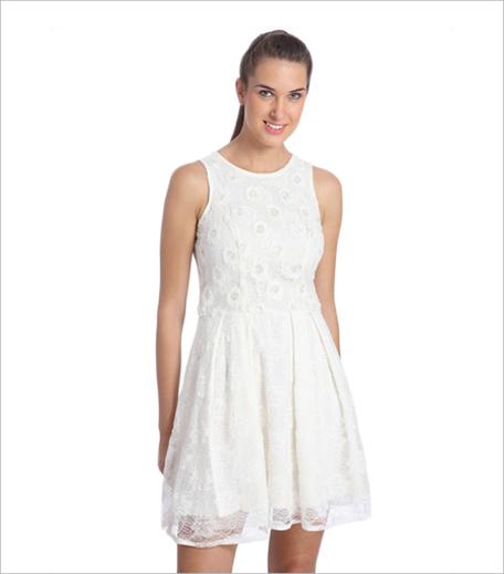 Only White Colored Embroidered Skater Dress_Hauterfly