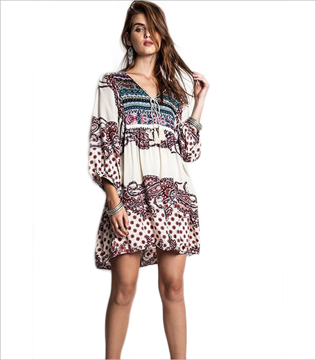 SR Store Multicolor V Neck Vintage Print Dress_Hauterfly