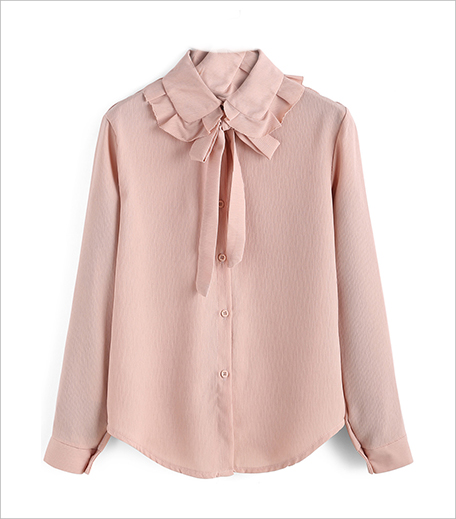 SR Store Pink Bow Collar Ruched Loose Top_Hauterfly