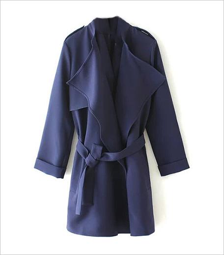 SR Store Red Epaulet Tie-waist Trench Coat_Hauterfly
