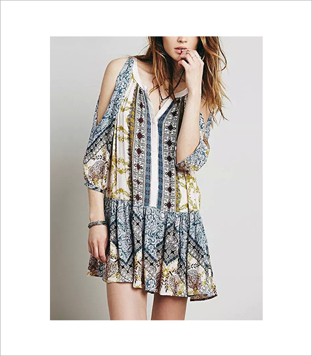 SR Store V Neck Cold Shoulder Vintage Print Shift Dress_Hauterfly