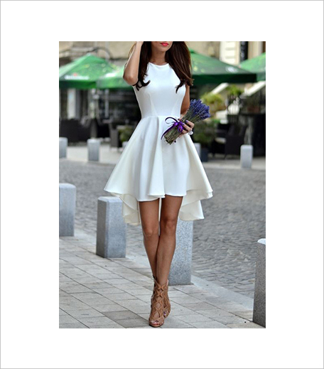 SR Store White Sleeveless Asymmetric Hem Flare Dress_Hauterfly