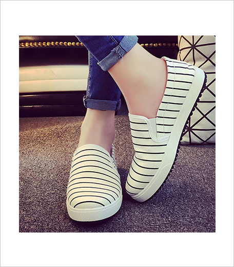 The Style syndrome WHITE STRIPED CANVAS SNEAKERS_Hauterfly