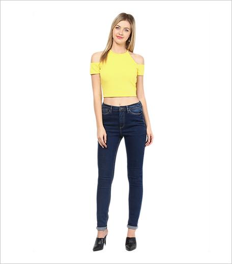 Veni Vidi Vici Yellow Solid Crop Top_Hauterfly