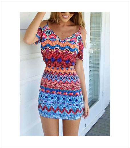 Zooomberg Off The Shoulder Tribal Print Bodycon Dress_Hauterfly