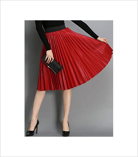 Zooomberg Red High Waist Pleated PU Skirt_Hauterfly