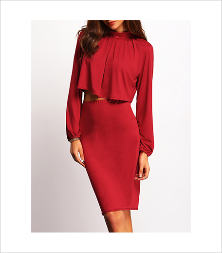 Zooomberg Red Stand Collar Crop Top With Skirt_Hauterfly