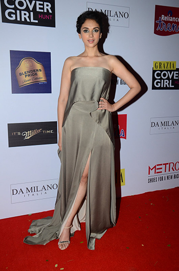 Aditi Rao Hydari wears a Lola by Suman B strapless dress