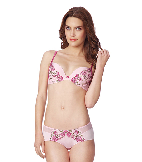 Amante Valentine's Special Pink Padded Wired Plunge Bra & Panty Set_Hauterfly