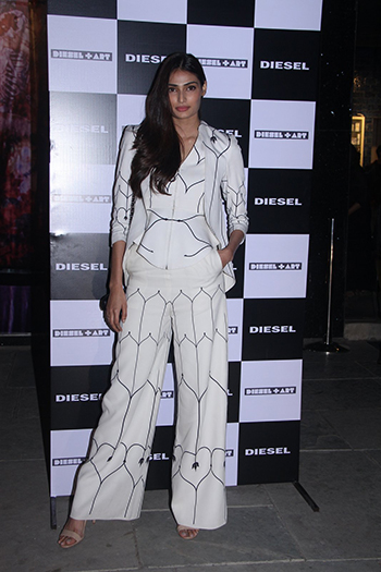 Athiya Shetty pulled off an am:pm three piece printed suit
