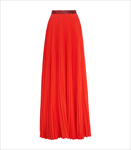 Christopher Kane Pleated stretch-satin maxi skirt_Hauterfly