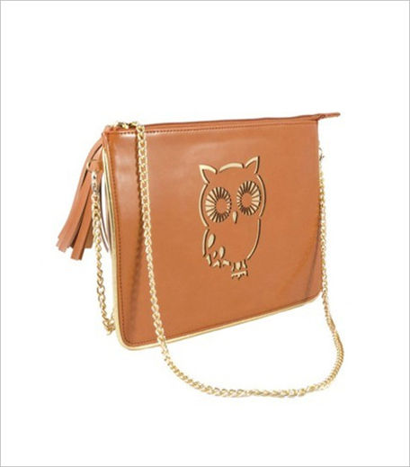 Dulce Couture Tan Owl Laser Cut Clutch_Hauterfly