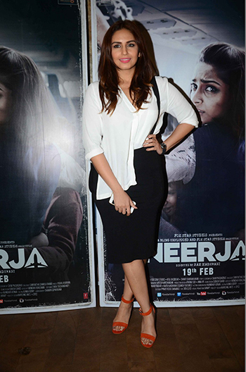 Huma Qureshi worked the colour block trend with a white Topshop shirt and Orange Aldo sandals