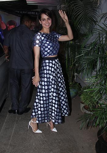 Kangana Ranaut was spotted at the Aligarh screening wearing a Sachin & Babi dress.