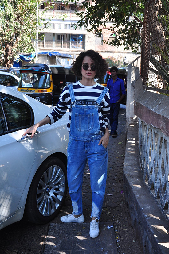 Kangana Ranaut In Dungaree and Striped Tee_Hauterfly