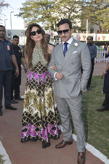 Kareena Kapoor Khan wore a printed Temperley dress at the Kingfisher Derby
