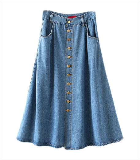 SR Store Single Breasted Denim A-Line Blue Skirt_Hauterfly