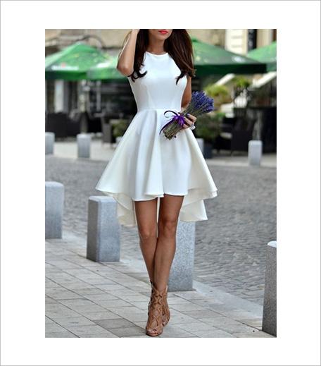 SR Store White Sleeveless Asymmetric Hem Flare Dress_Hauterfly