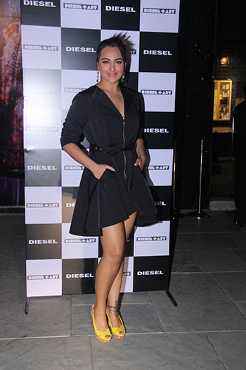 Sonakshi Sinha wore a Bebe trench dress with yellow heels