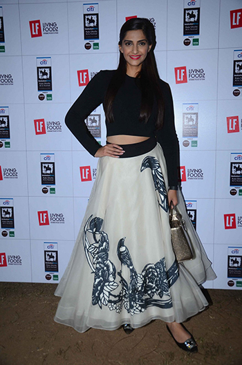 Sonam Kapoor in an Eshaani Jayaswal Iron Fairies skirt and a Dior bag