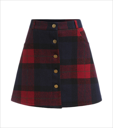 The Style Syndrome Plaid Single Breasted A Line Skirt_Hauterfly