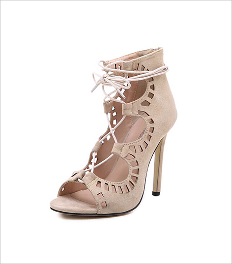 Zooomberg Beige High Heel Hollow Sandals_Hauterfly