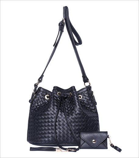 Zooomberg Black Drawstring Woven Shoulder Bag_Hauterfly
